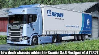 ✅ [ETS2 1.32 4K] Low deck chassis addon for Scania S&R Nextgen v1.4 [1.32]