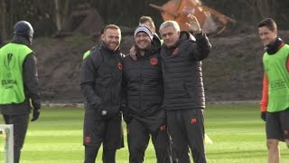 Manchester United Squad Train Ahead Of Their Europa League Match Against Feyenoord