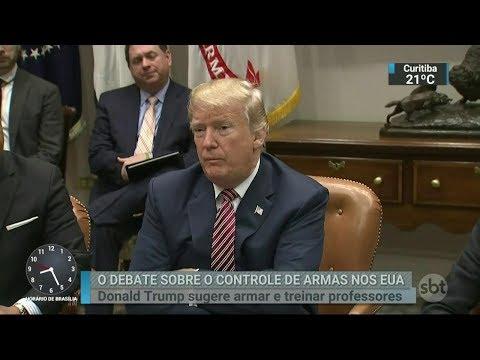 Trump sugere armar e treinar professores para combater atiradores | SBT Brasil (22/02/18)