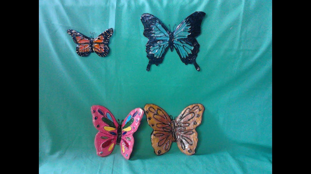 Mariposas adorno para la pared youtube for Manualidades decorativas para la casa