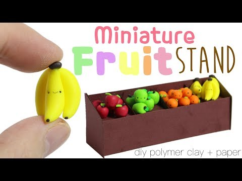 How to DIY Cute Mini Grocery Store Fruit Stand Polymer Clay/Paper Tutorial