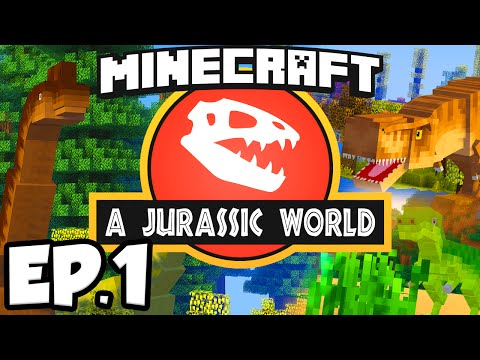 Jurassic World: Minecraft Modded Survival Ep.1 - DINOSAURS IN MINECRAFT!!! (Rexxit Modpack)