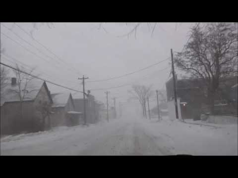Driving around in start Snow Storm in Eastern Canada February 13 2017