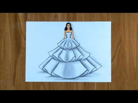 Simple Dresses Drawings Step By Step Fashion Illustration Drawing Fashion Design Illustration Youtube