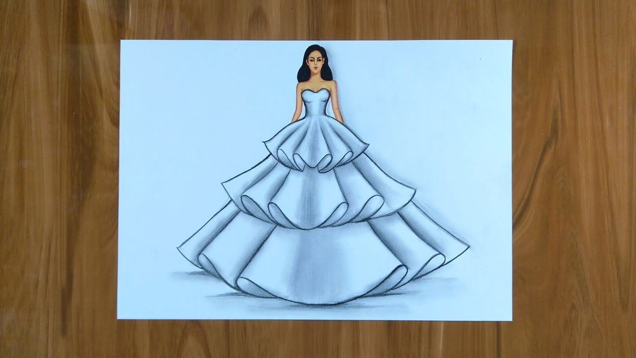 How To Draw A Beautiful Girl In A Dress Simple Dresses Drawings Easy Drawings For Beginners Youtube