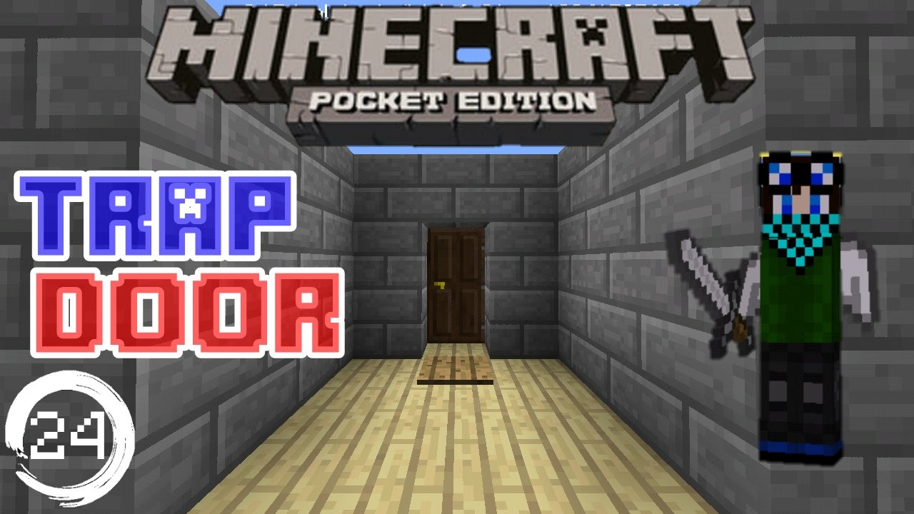 Minecraft Pe Redstone Tutorial How To Make A Trap Door In Mcpe Youtube
