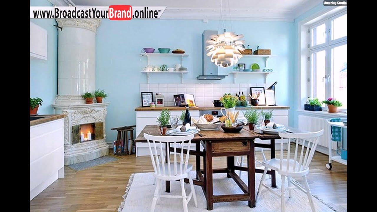 Skandinavischer Stil Blaue Küche Papierlampe - YouTube