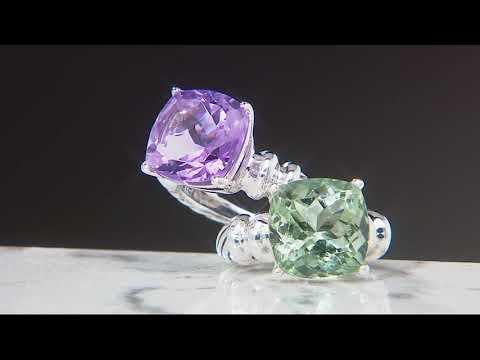 Cushion Cut Rose de France or Prasiolite Gemstone Ring, Sterling on QVC