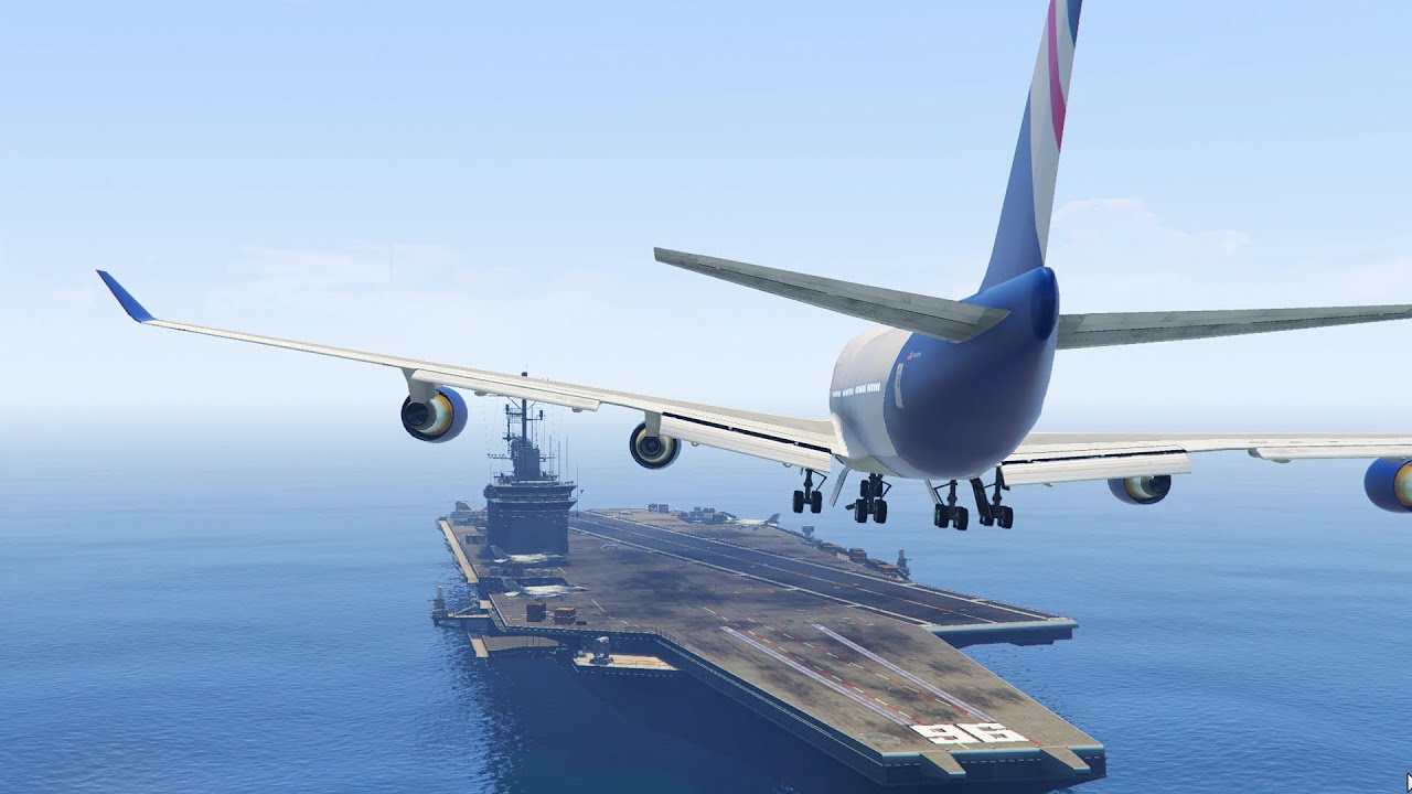 maxresdefault gta 5 landing a jumbo jet on the aircraft carrier (gta 5 funny,Funny Airplane Landing