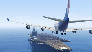 GTA 5 - LANDING A JUMBO JET ON THE AIRCRAFT CARRIER (GTA 5 Funny Moment)