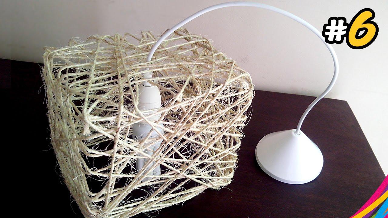 Luminaria de sisal sisal lampshade lampara del hilo de - Manualidades con hilo ...