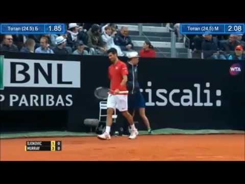 Rome 2016 Final - Djokovic vs Murray - Djokovic throws his racket into the crowd, gets violation, belittles umpire.