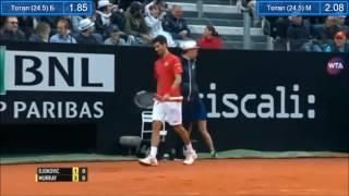 Rome 2016 Final - Djokovic vs Murray - Djokovic threw his racket to the crowd