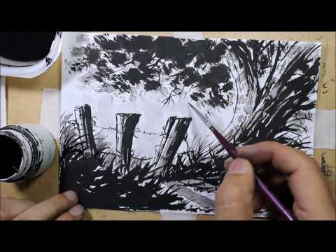 Exercise Ink Wash for beginners black and withe paiting by Nil Rocha