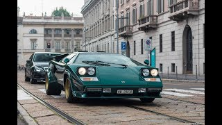 Lamborghini Countach S start up, sound and driving in Milan !!!