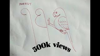 parrot drawing easy way step by step|| draw by indian artist.