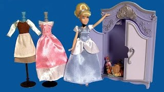 Princess Cinderella Mini Wardrobe Doll PlaySet DisneyStore Royal Closet Unboxing by FunToys