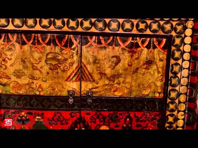 Rare Tibetan deity painted cabinet