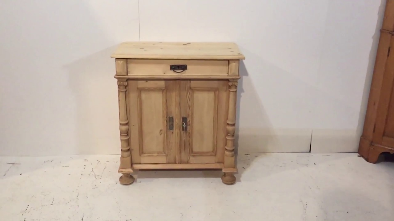 Small antique pine cupboard with a drawer - Pinefinders Old PIne Furniture  Warehouse - Small Antique Pine Cupboard With A Drawer - Pinefinders Old PIne
