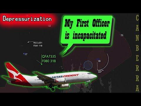 REAL ATC Qantas suffers depressurization  Pilot becomes incapacitated