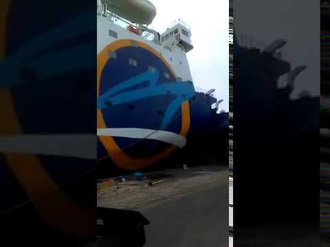 Momento en que el Ferry impacta terminal