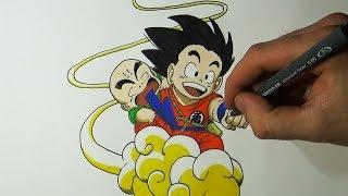 Drawing Goku and Krillin On The Flying Nimbus - Dragon Ball