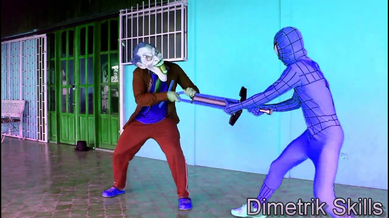 Blue Spiderman Vs Joker Real Life Superhero Movie Youtube