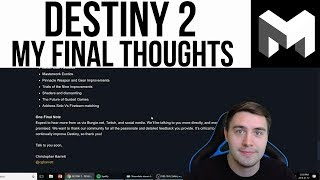 Destiny 2: My Final Thoughts