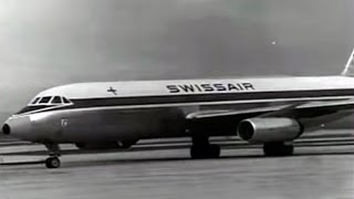 1962 Jet Convair 990 Coronado de SwissAir Aterriza en Madrid Barajas por primera vez - Landing