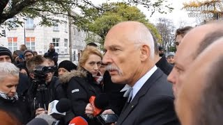 Janusz Korwin-Mikke pod ambasadą Francji - konferencja Partii KORWiN - 14.11.2015, Warszawa