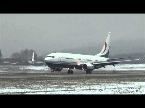 Global Jet Austria Boeing 737-BBJ2 landing at ZRH (WEF 2015)