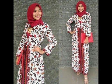 Model Batik Muslimah Kombinasi Polos Modern Dan Terkini. Fashion Terbaru 9fcb30f7e3