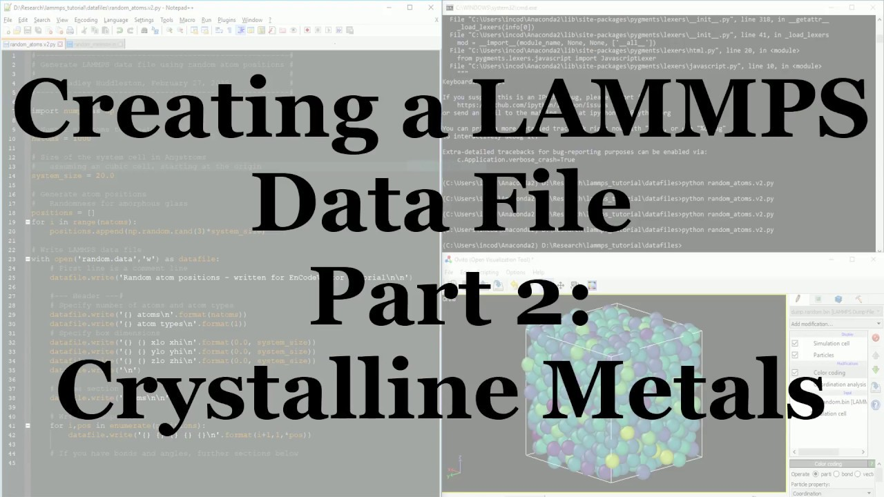 Using Python to Generate Simple Crystalline Materials for LAMMPS