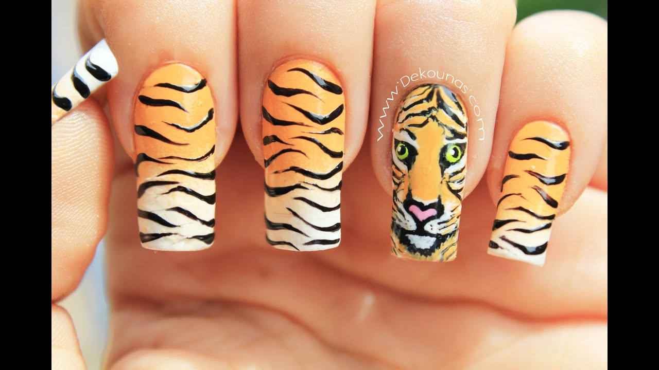 decoracin de uas tigre animal print tiger animal print nail art youtube
