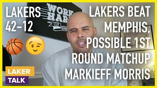 Lakers Beat Memphis, Possible 1st Rnd Matchup, AD Defense and Markieff Morris' Signing?