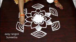 Easy rangoli kolam designs with out colors || simple cute muggulu with 7 dots