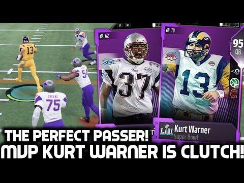 SUPER BOWL MVP KURT WARNER IS THE BEST PASSER! MADDEN 18 Ultimate Team