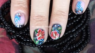 Nail Art Design Night Time Summer Tropical Garden Pink and Black Live Tutorial