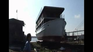 Launch of 39m steel boat at Vuot Song Shipyard