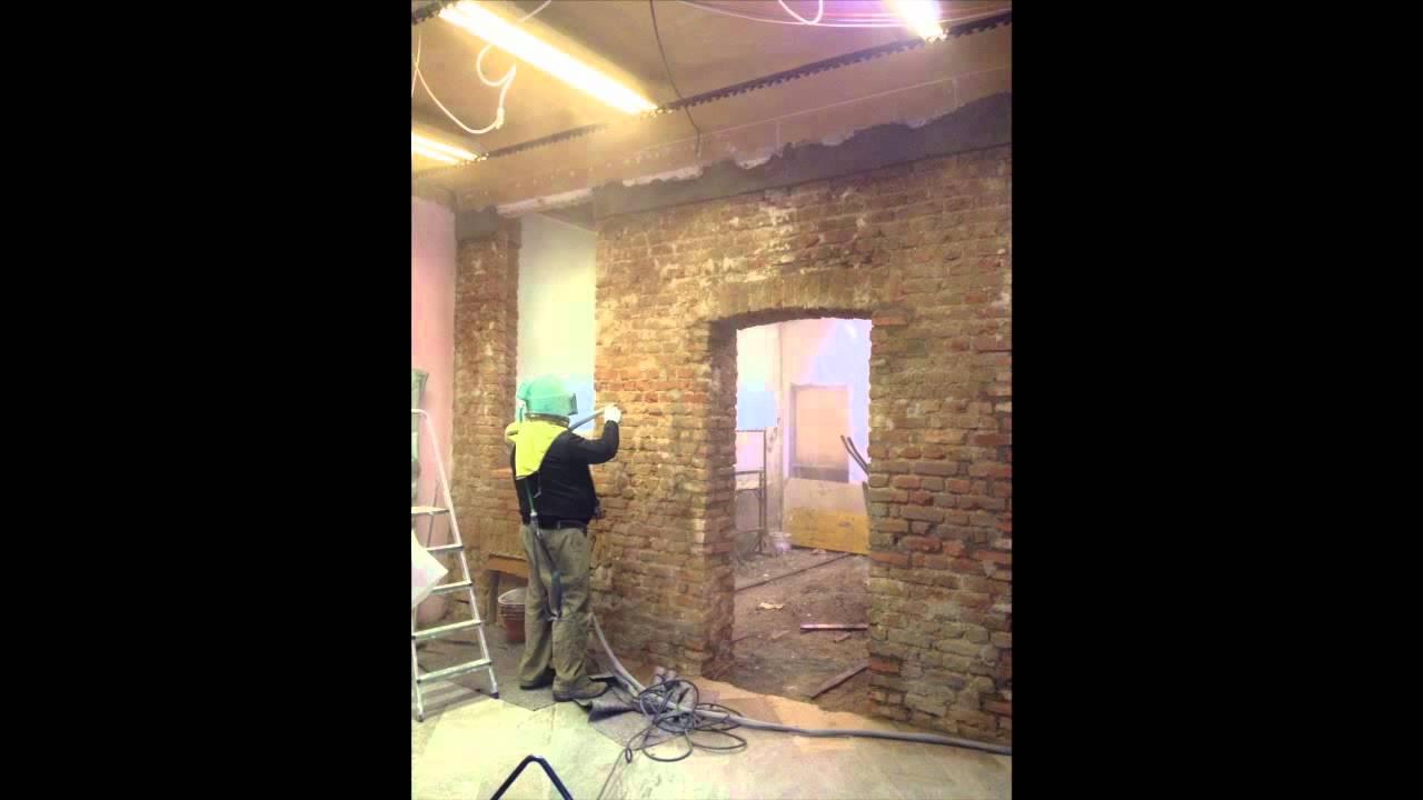 Sabbiatura soffitto legno Sabbiatura volte mattoni - YouTube