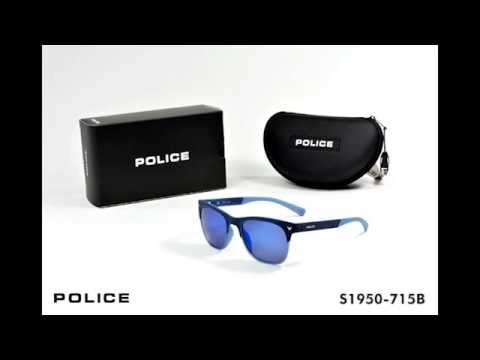 Police Mens S1950-715B Semi Matt Full Blue Polarized Sunglasses