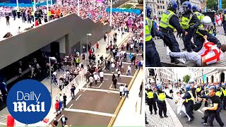 Shocking moment ticketless England fans storm Wembley and fight before Euro 2020 final