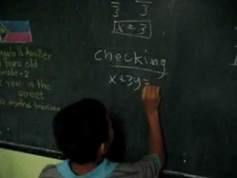 Amazing Street Kid Solving Algebra 1