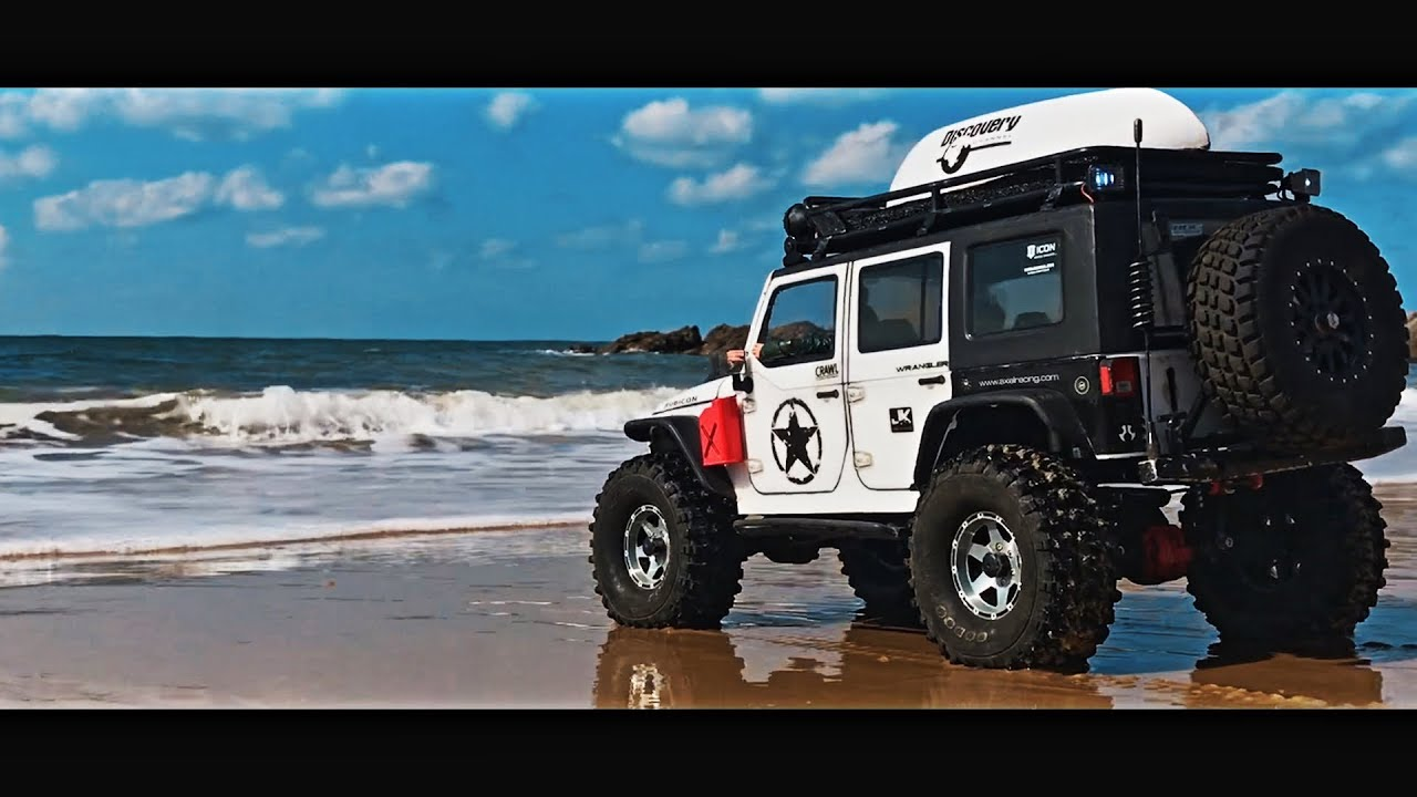 Axial SCX10 II Jeep Wrangler JK Rubicon Beach run_#