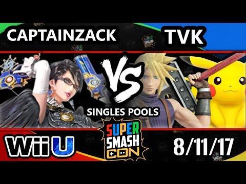 Smash Con 2017 Smash 4 - P1 | Captain Zack (Bayonetta) Vs TVK (Cloud, Pikachu) Wii U Pools