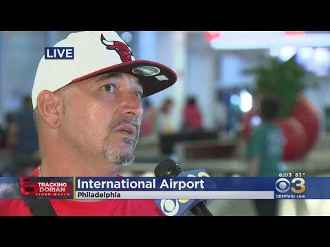 Travelers Escaping Hurricane Dorian Arriving At Philadelphia International Airport