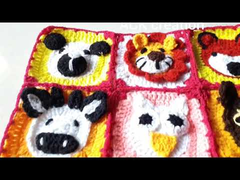 A crochet baby blanket/ A animals design by crochet/ A crochet tablemat