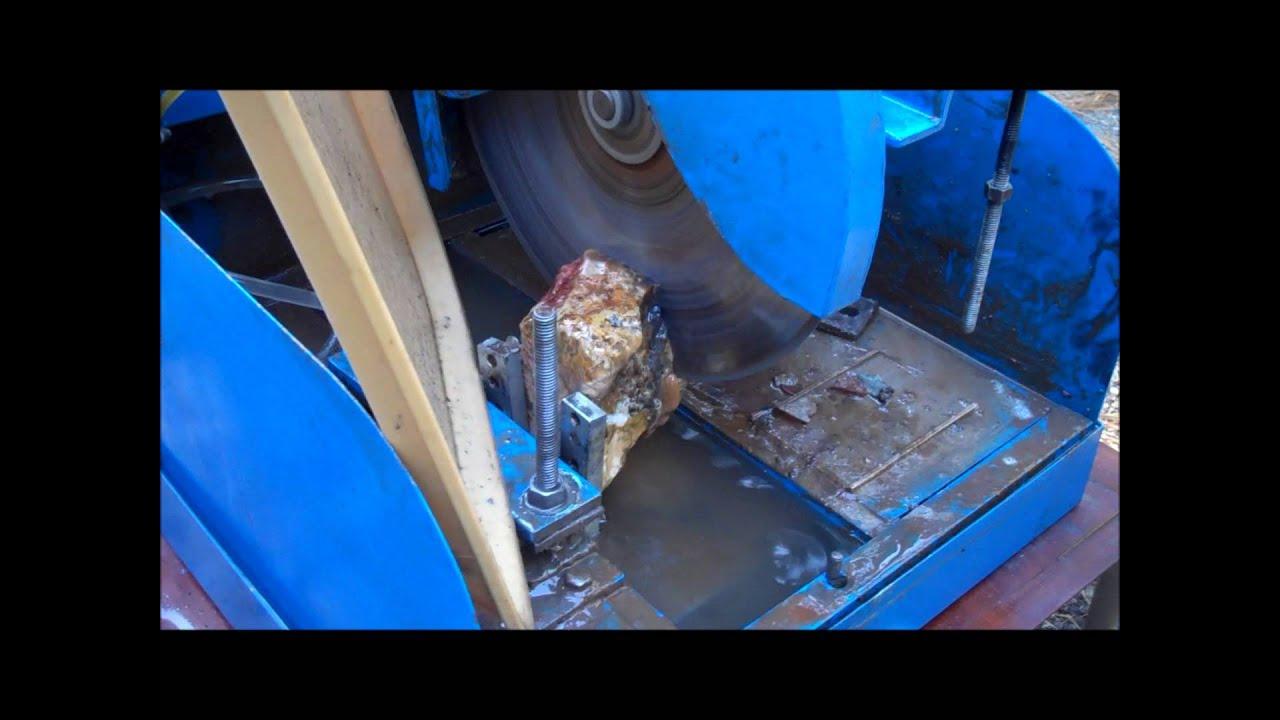 Cutting A Rock On A Lortone Ls 14 Lapidary Slab Saw W