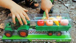 do choi tre em xe cho trai cay va hoc ten cac loai qua - learn the names of fruits with toy truck