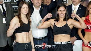 KATIE TAYLOR VS VICTORIA BUSTOS - FULL OFFICIAL WEIGH IN AND FACE OFF VIDEO